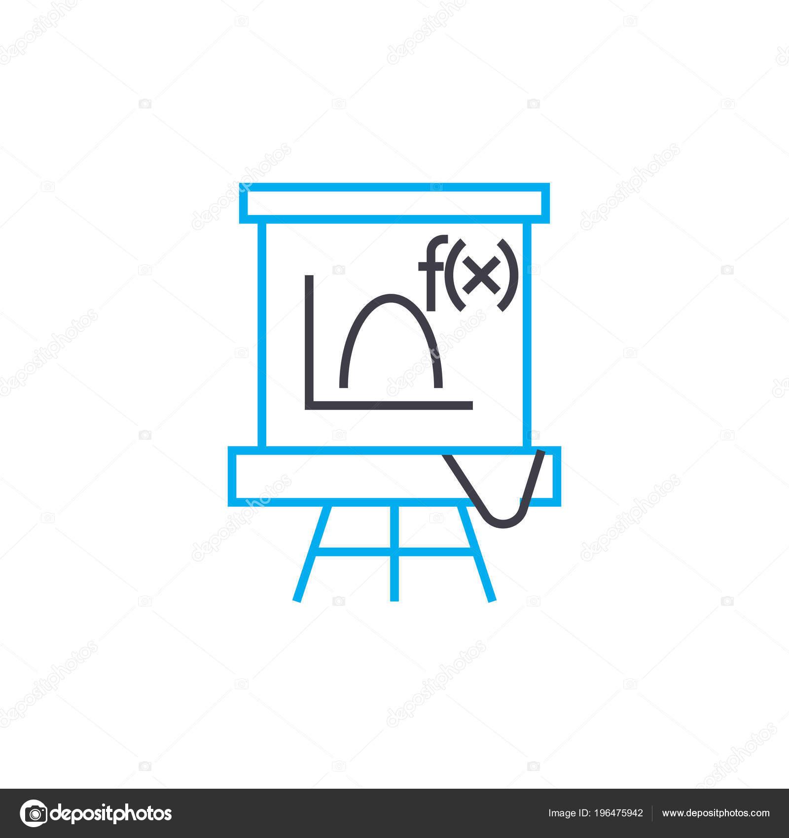 Algebra lesson linear icon concept  Algebra lesson line
