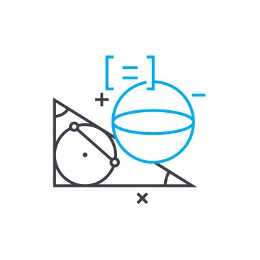Study of geometry linear icon concept. Study of geometry line vector sign, symbol, illustration.