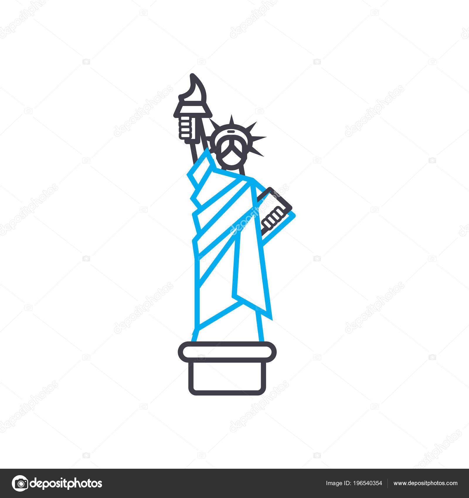 Vaak Het standbeeld van vrijheid lineaire pictogram concept. Het &PN42
