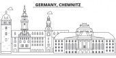 Fotografie Deutschland, Chemnitz-Linie-Skyline-Vektor-Illustration. Deutschland, Chemnitz lineare Stadtbild mit berühmten Sehenswürdigkeiten, Sehenswürdigkeiten, Vektor-Landschaft