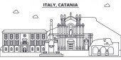 Photo Italy, Catania line skyline vector illustration. Italy, Catania linear cityscape with famous landmarks, city sights, vector landscape.