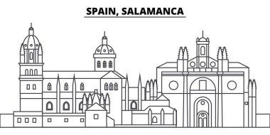 Spain, Salamanca line skyline vector illustration. Spain, Salamanca linear cityscape with famous landmarks, city sights, vector landscape.