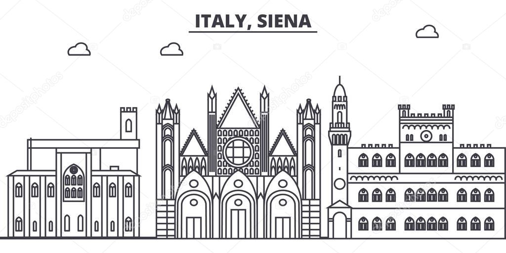 Italy, Siena line skyline vector illustration. Italy, Siena linear cityscape with famous landmarks, city sights, vector landscape.