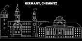 Fotografie Chemnitz Silhouette Skyline. Deutschland - Chemnitz-Vektor-Stadt, deutsche lineare Architektur, Gebäude. Chemnitz Reise Darstellung, Gliederung Wahrzeichen. Deutschland flat Symbole, deutsche Linie banner