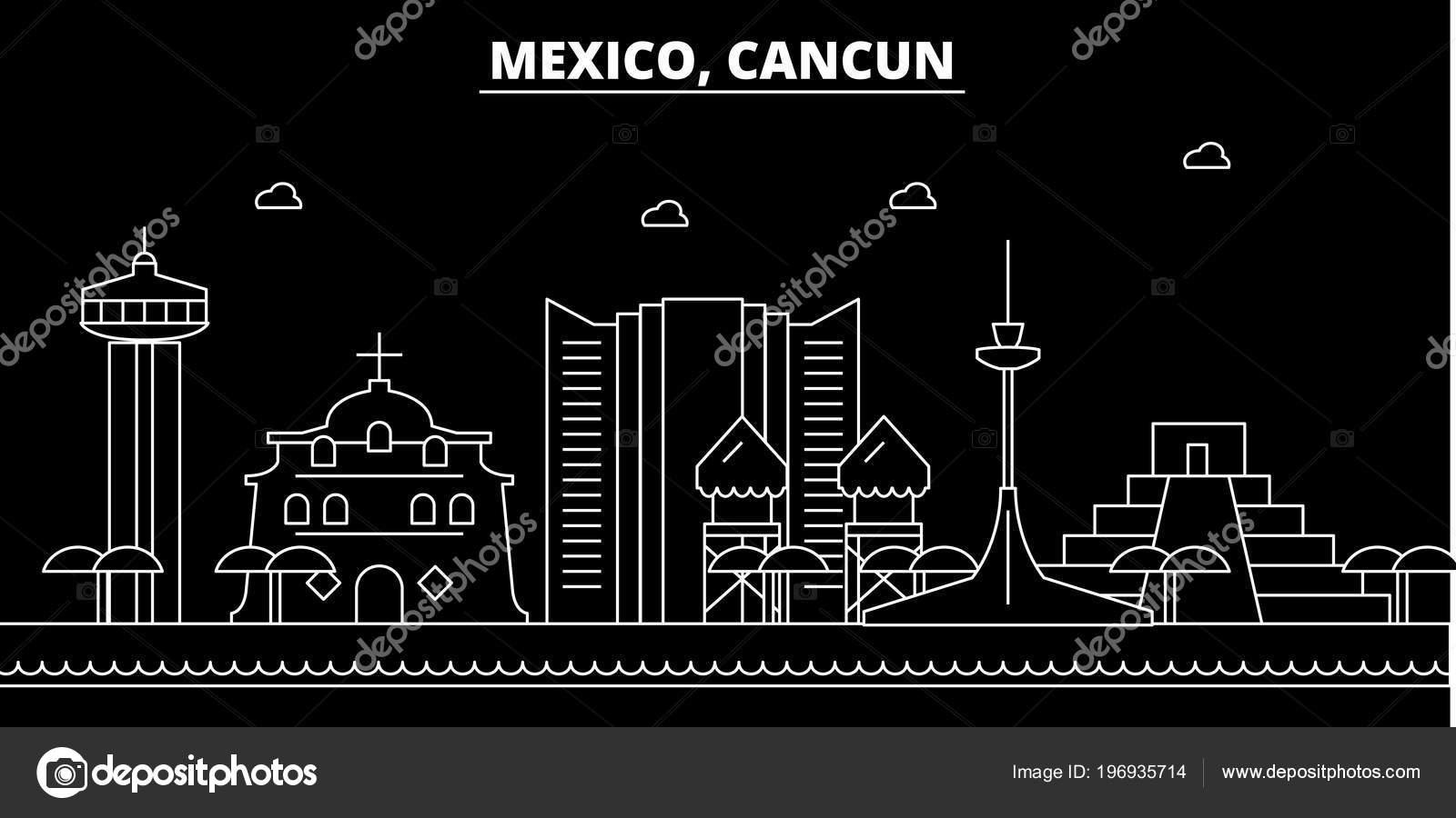 Cancun Silhouette Skyline Mexico Cancun Vector City Mexican