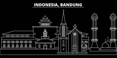 Bandung silhouette skyline. Indonesia - Bandung vector city, indonesian linear architecture, buildings. Bandung travel illustration, outline landmarks. Indonesia flat icon, indonesian line banner