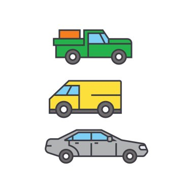 Pickup car line icon concept. Pickup car flat vector sign, symbol, illustration.
