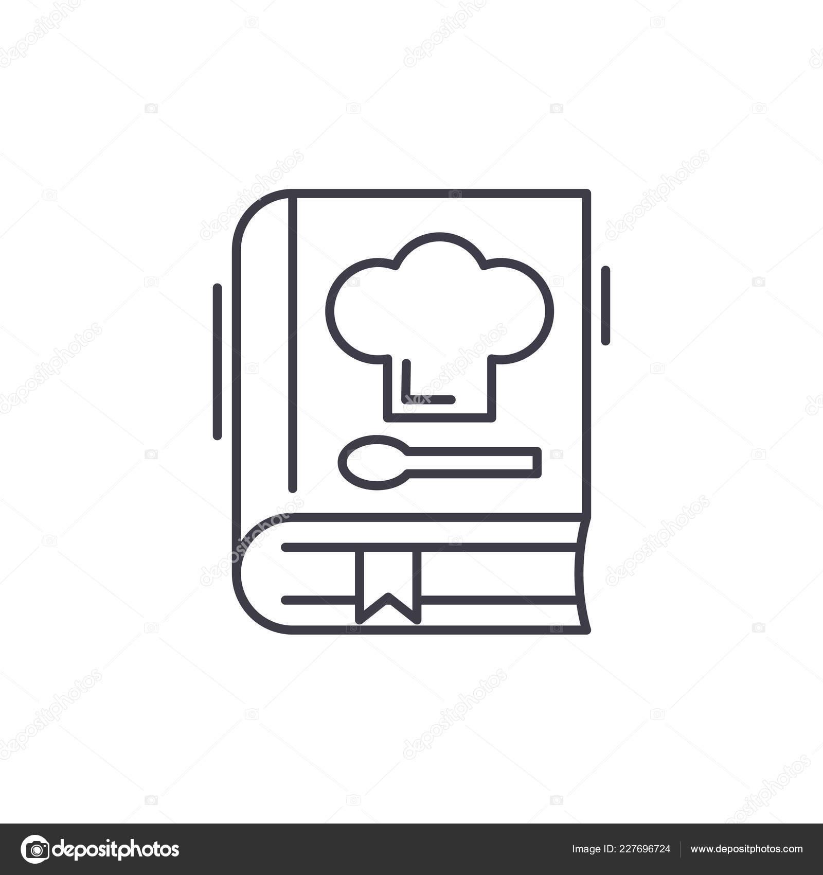 Book of recipes line icon concept. Book of recipes vector
