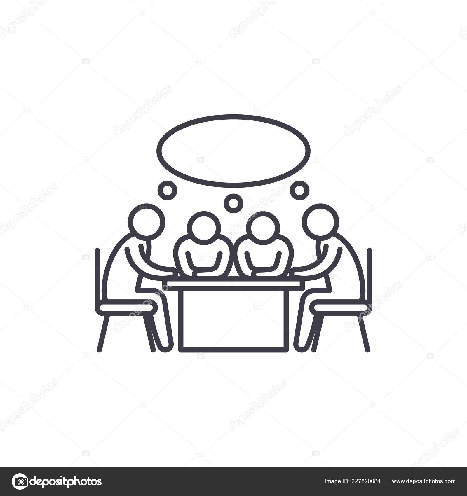 Small Business Meeting Line Icon Concept Small Business Meeting