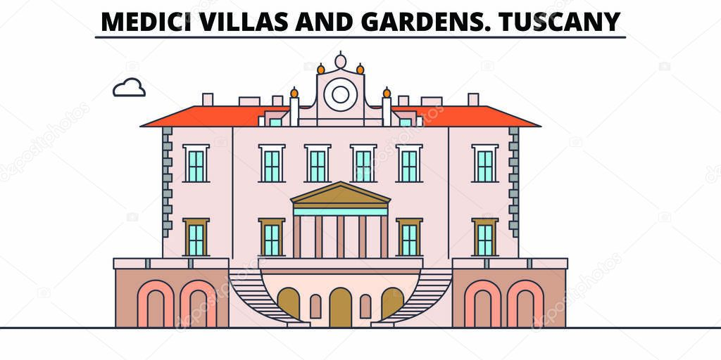 Medici Villas And Gardens. Tuscany line travel landmark, skyline, vector design. Medici Villas And Gardens. Tuscany linear illustration.