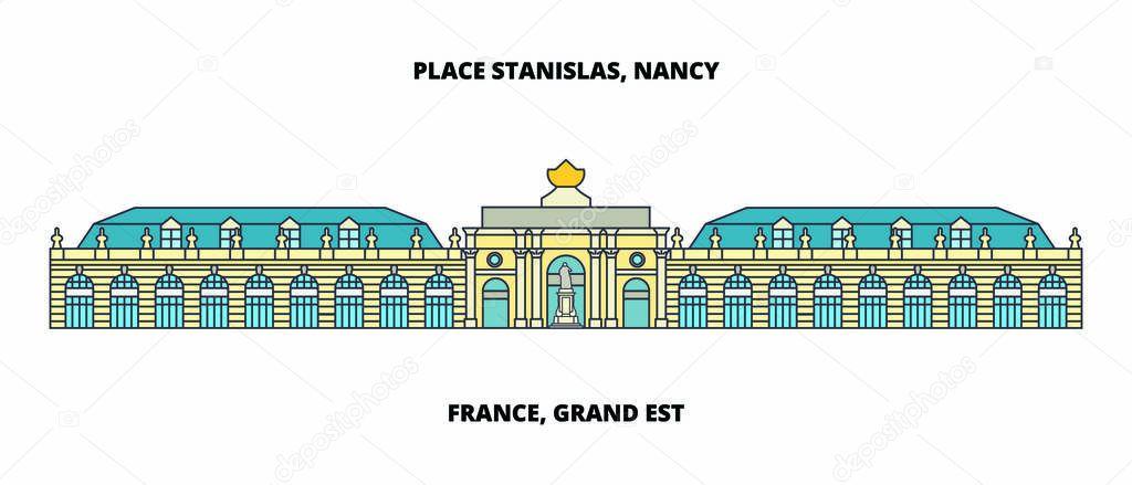 France, Grand Est - Place Stanislas, Place De La CarriEre, And Place Dalliance In Nancy line travel landmark, skyline vector design