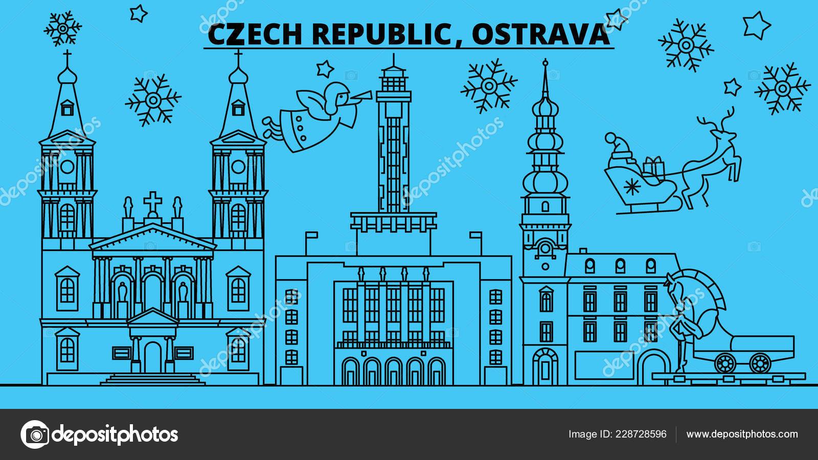 Frohe Weihnachten Und Ein Gutes Neues Jahr Tschechisch.Tschechien Ostrava Winter Urlaub Skyline Merry Christmas
