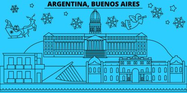 Argentina, Buenos Aeros winter holidays skyline. Merry Christmas, Happy New Year decorated banner with Santa Claus.Flat, outline vector.Argentina, Buenos Aeros linear christmas city illustration