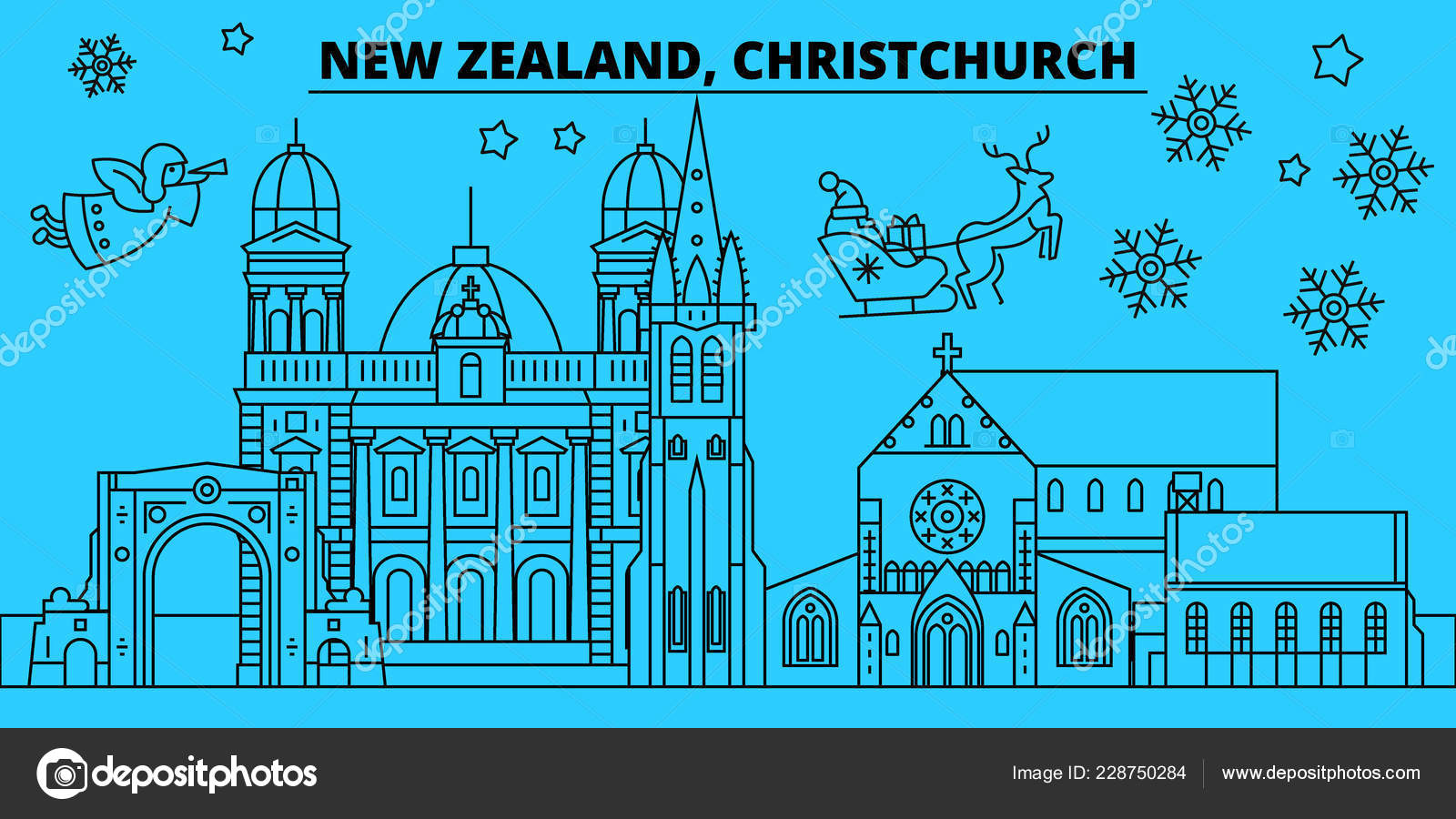 new zealand christchurch winter holidays skyline merry christmas happy new year decorated banner
