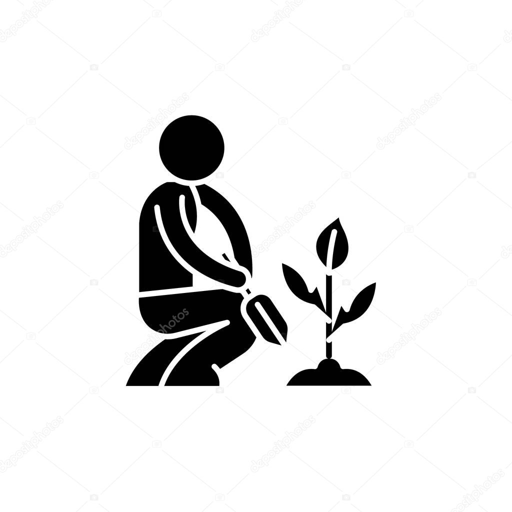 Garden care black icon, vector sign on isolated background. Garden care concept symbol, illustration