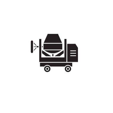 Concrete mixer black vector concept icon. Concrete mixer flat illustration, sign