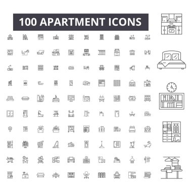 Apartment editable line icons, 100 vector set, collection. Apartment black outline illustrations, signs, symbols
