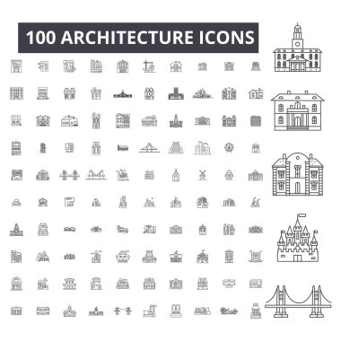 Architecture editable line icons, 100 vector set, collection. Architecture black outline illustrations, signs, symbols
