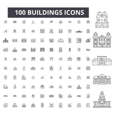 Buildings editable line icons, 100 vector set, collection. Buildings black outline illustrations, signs, symbols