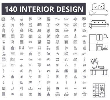 Interior design editable line icons, 100 vector set, collection. Interior design black outline illustrations, signs, symbols