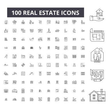 Real estate editable line icons, 100 vector set, collection. Real estate black outline illustrations, signs, symbols