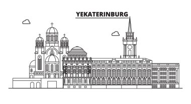 Russia, Yekaterinburg. City skyline: architecture, buildings, streets, silhouette, landscape, panorama, landmarks. Editable strokes. Flat design, line vector illustration concept. Isolated icons