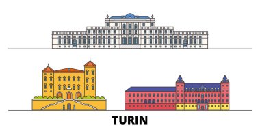 Italy, Turin, Residences Of The Royal House Of Savoy flat landmarks vector illustration. Italy, Turin, Residences Of The Royal House Of Savoy line city with famous travel sights, skyline, design.