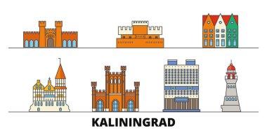 Russia, Kaliningrad flat landmarks vector illustration. Russia, Kaliningrad line city with famous travel sights, skyline, design.