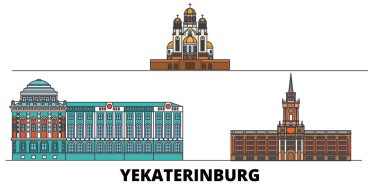 Russia, Yekaterinburg City flat landmarks vector illustration. Russia, Yekaterinburg City line city with famous travel sights, skyline, design.