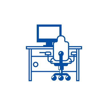 Cabinet,home desk with pc and office chair line icon concept. Cabinet,home desk with pc and office chair flat  vector symbol, sign, outline illustration.