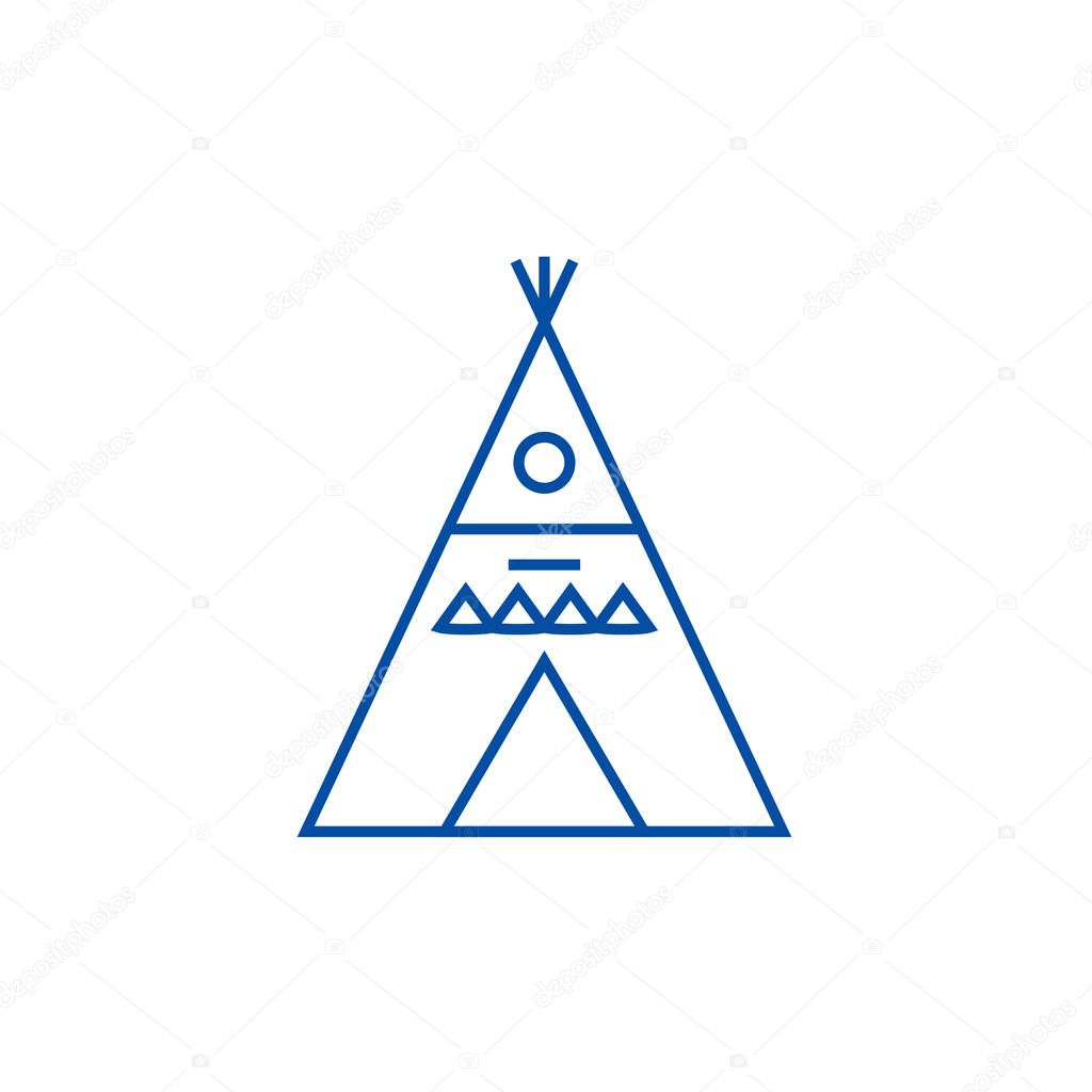 Wigwam illustation line icon concept. Wigwam illustation flat  vector symbol, sign, outline illustration.