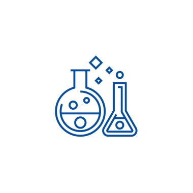 Chemistry lab,experiments line icon concept. Chemistry lab,experiments flat  vector symbol, sign, outline illustration.