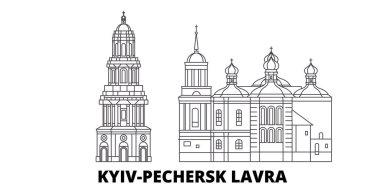 Ukraine, Kyiv, Pechersk Lavra line travel skyline set. Ukraine, Kyiv, Pechersk Lavra outline city vector illustration, symbol, travel sights, landmarks.