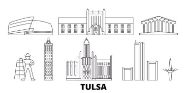 United States, Tulsa line travel skyline set. United States, Tulsa outline city vector illustration, symbol, travel sights, landmarks.