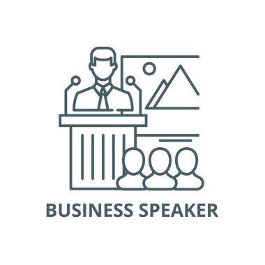 Business speaker line icon, vector. Business speaker outline sign, concept symbol, flat illustration