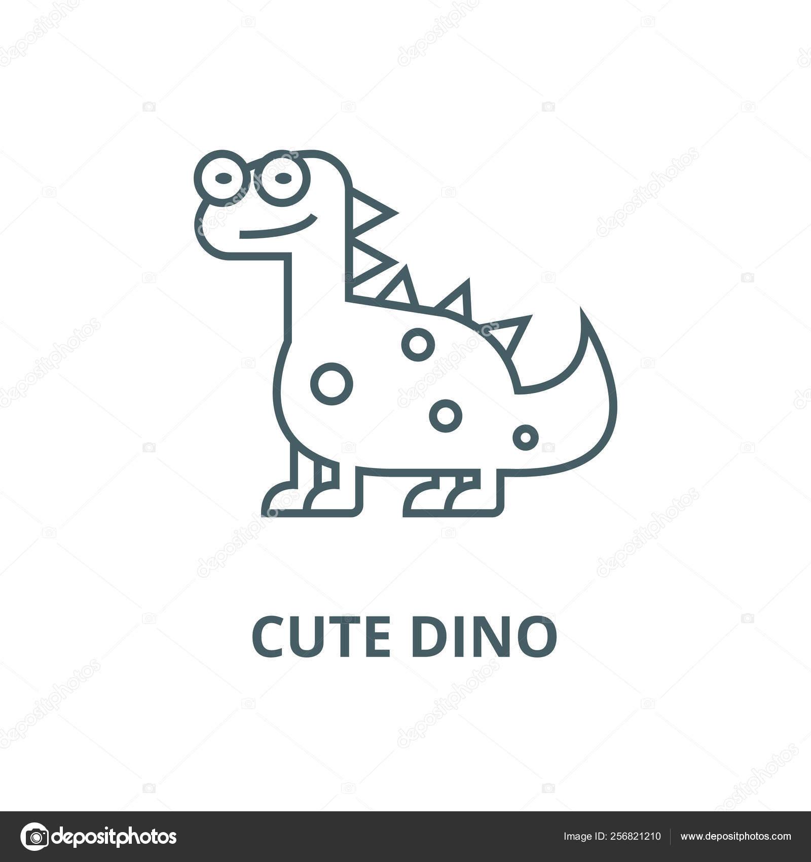 Cute Dinodinosaur Line Icon Vector Cute Dinodinosaur Outline