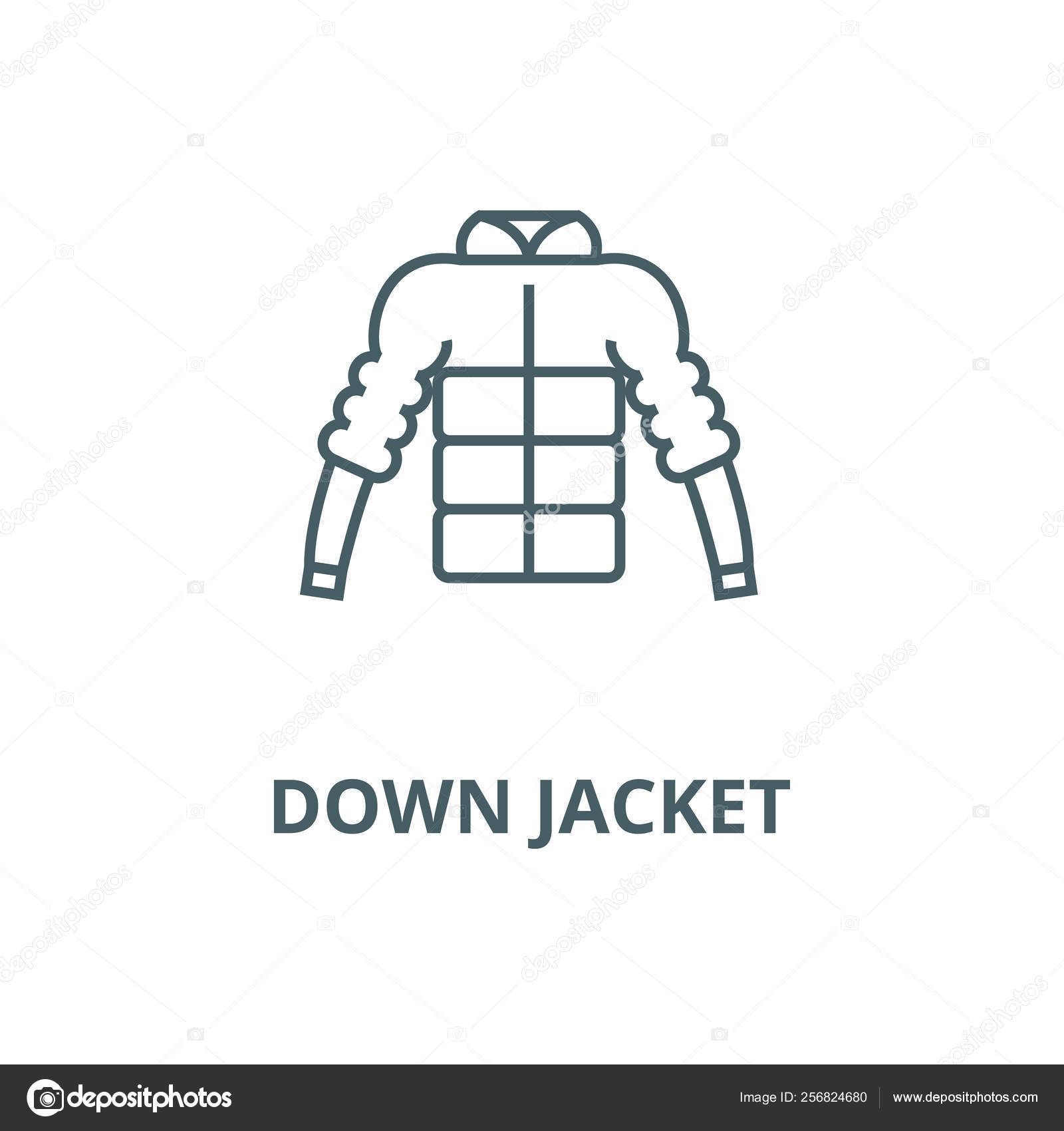b72c9f250da Down jacket line icon, vector. Down jacket outline sign, concept symbol, flat  illustration– stock illustration
