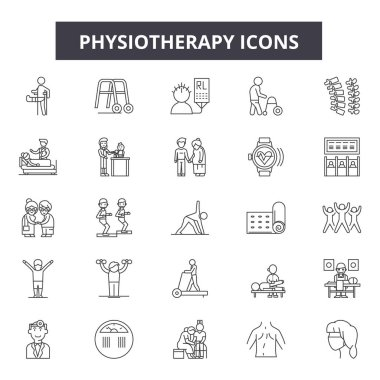Physiotherapy line icons, signs set, vector. Physiotherapy outline concept illustration: medical,physiotherapy,health,care,patient,rehabilitation,therapy,massage,treatment stock vector