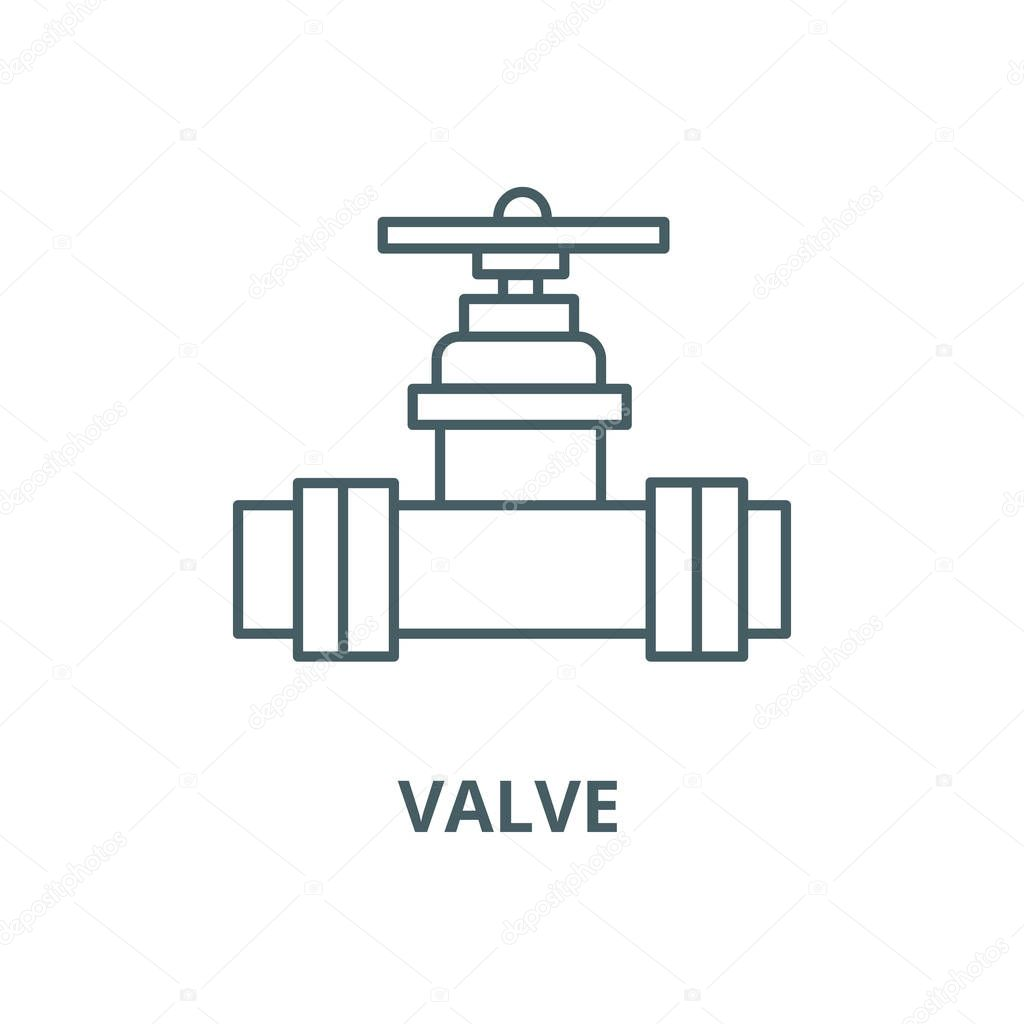 Valve, plumbing service vector line icon, linear concept, outline sign, symbol