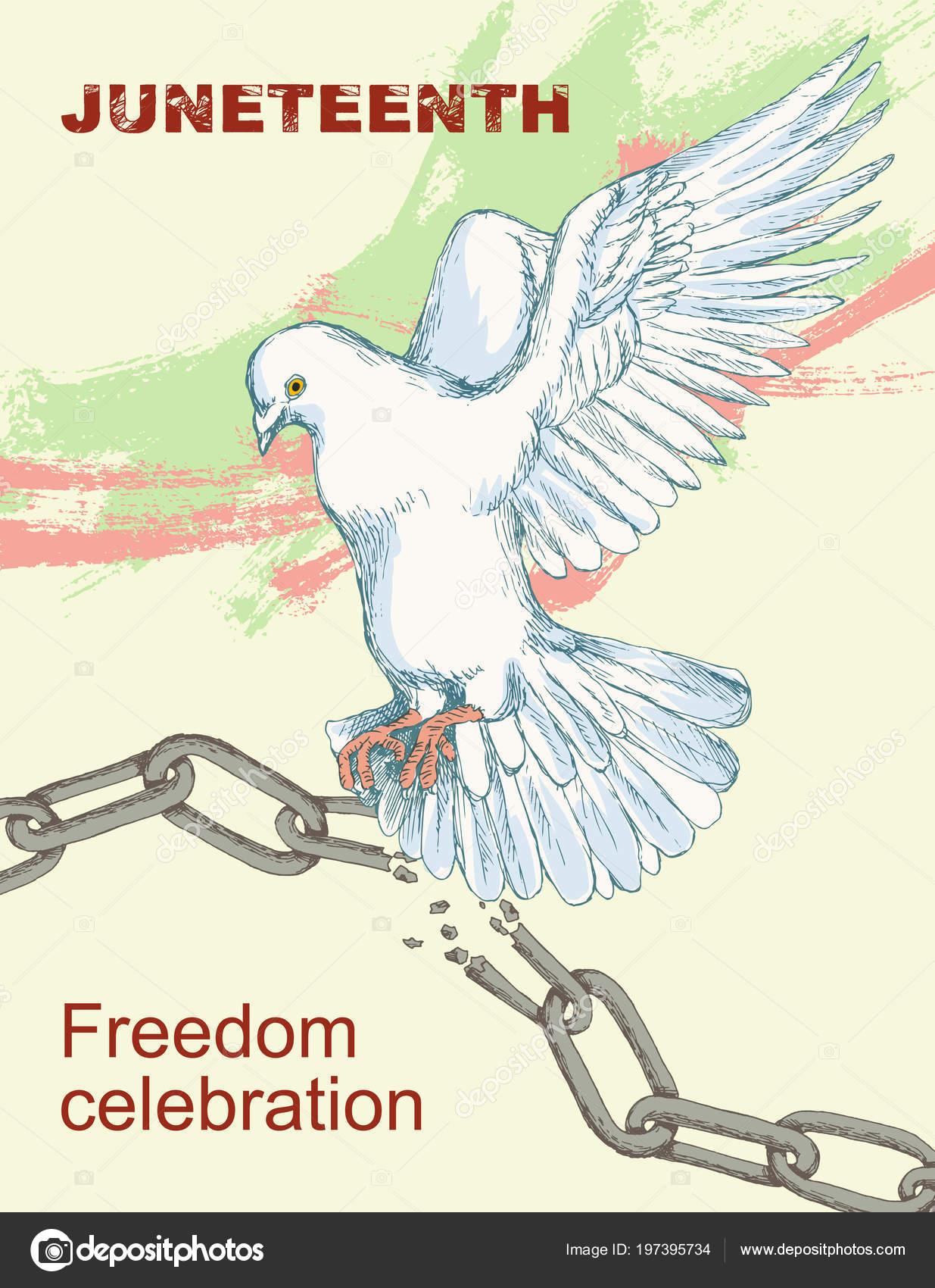 Juneteenth Day Broken Chain Shackles Dove Bird Symbol Peace
