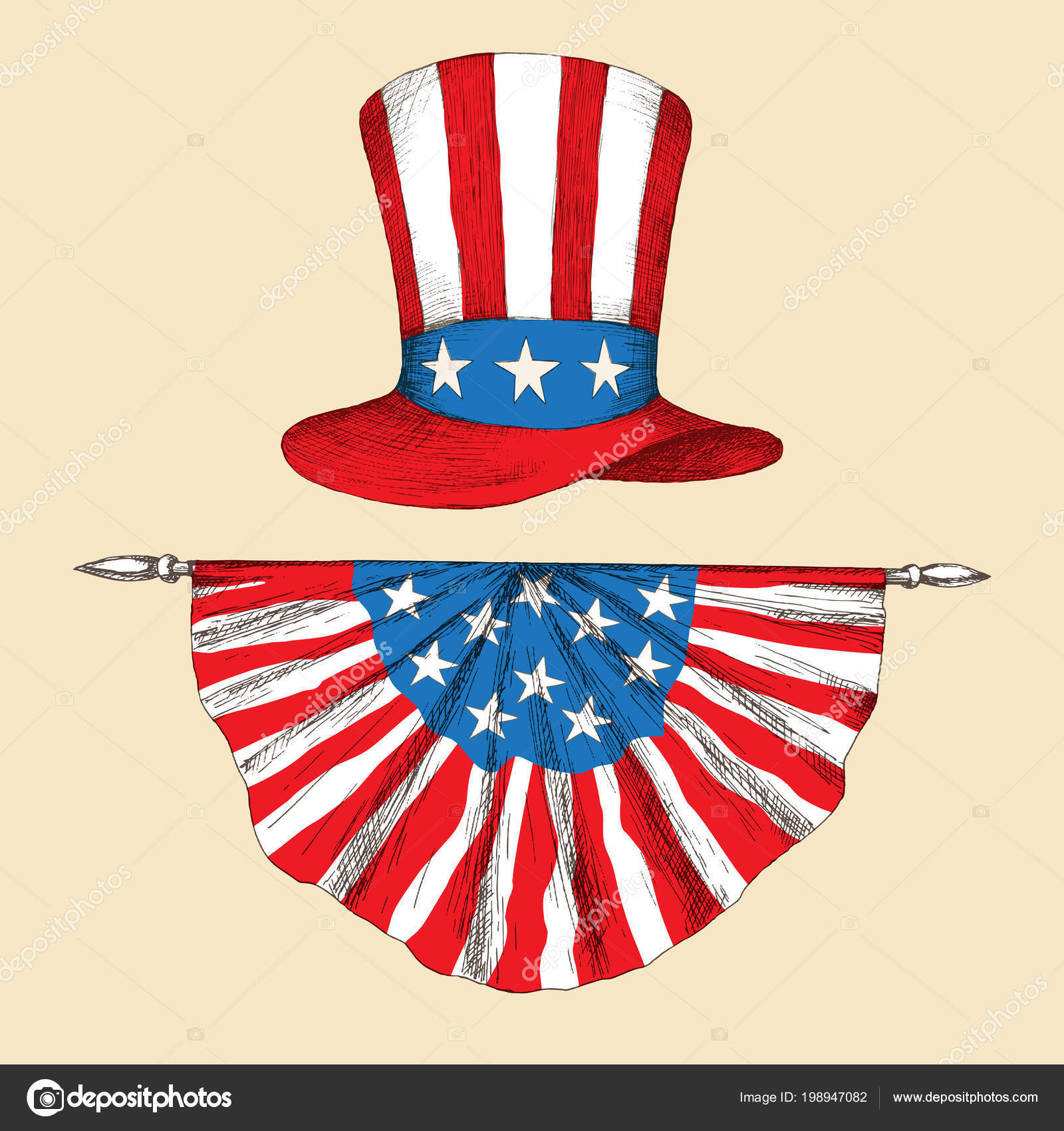 American Independence Day Hat With The Flag Of The United States Of