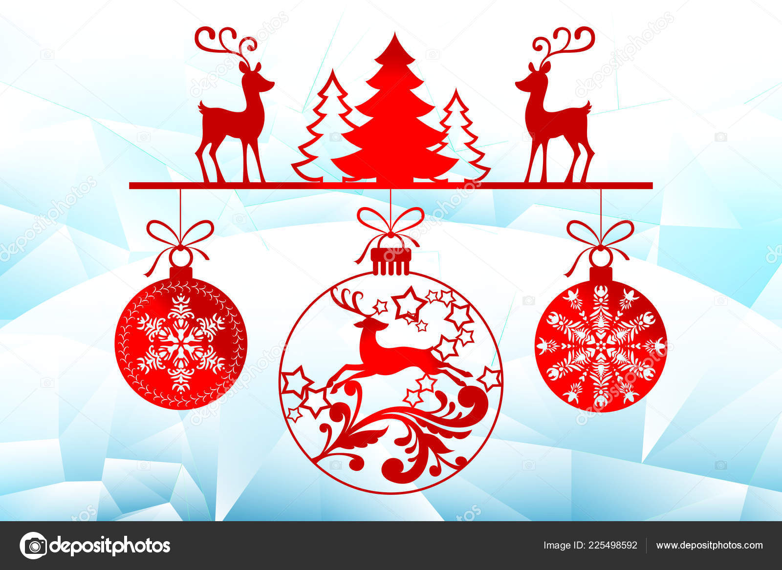 New Year, Christmas laser cutting templates. Holiday decorations in 2019 on an icy background deer, winter trees, Christmas balls. Decor for decoration of ...