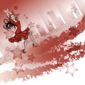 Plakat für eine lateinamerikanische Tanzparty. Frau im roten Kleid tanzt Salsa.