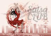 Dámská taneční salsa, mambo. Banner, plakát na latinský taneční klub, karneval, párty. Dívka v červených šatech. Styl vektorového náčrtku.