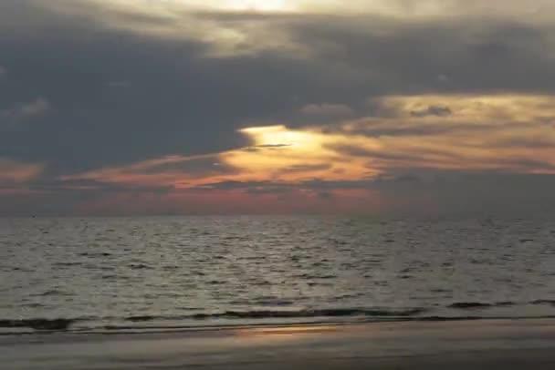sunset go to dark at Nang Rong beach Cholburi, Thailand