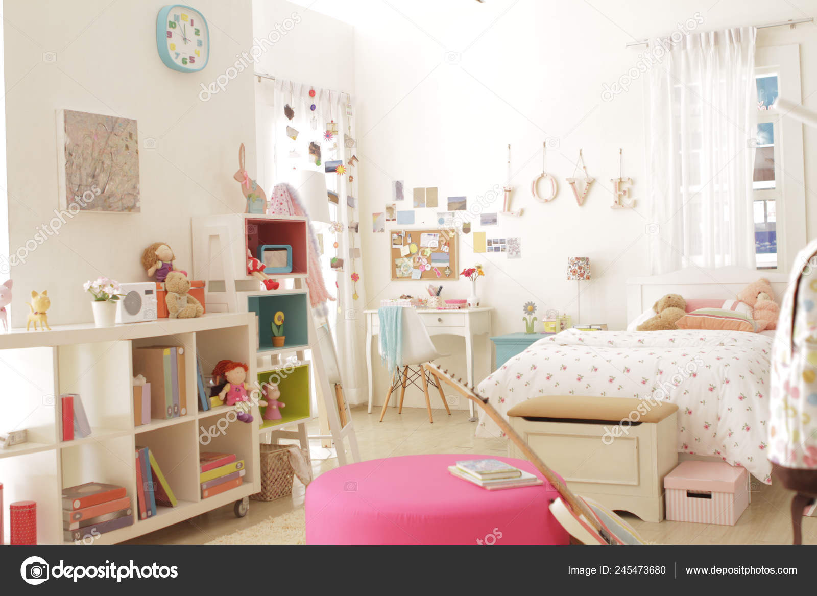 Lot Pastel Color Things Decorated Cute Teen Girl Bedroom Stock Photo Image By C Siva Ontherock 245473680
