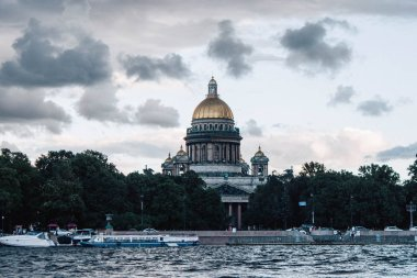 Panoramic view of the Neva River in St. Petersburg and the sights of the city