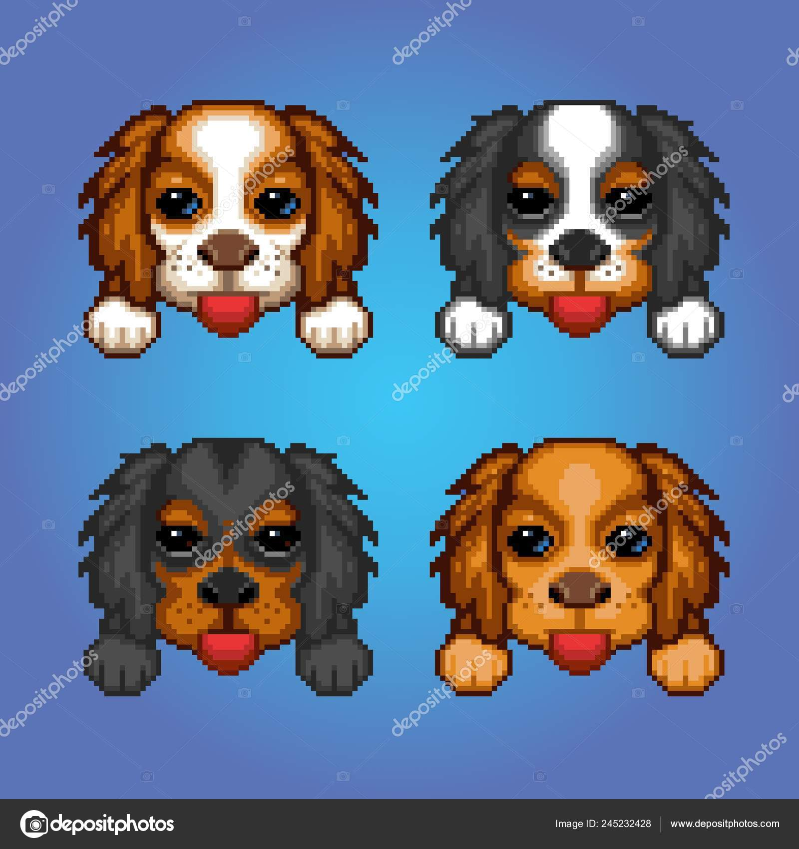 Cute Dogs Cavalier King Charles Spaniel Heads Pixel Art