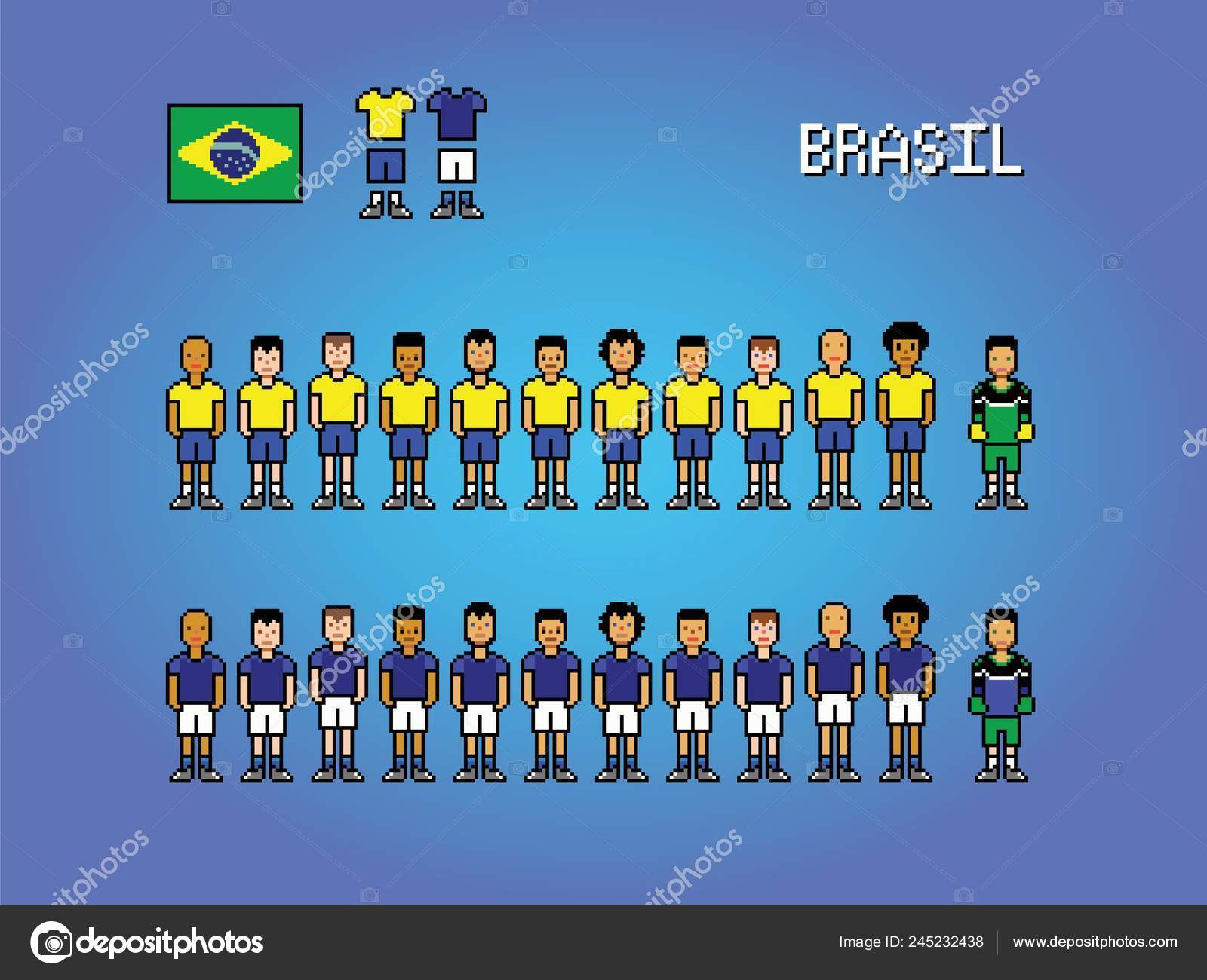 Brasil Football Team Pixel Art Soccer Game Illustration