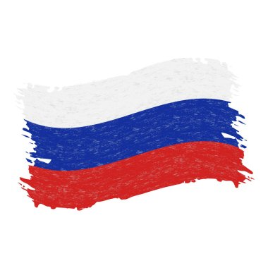 Flag of Russia, Grunge Abstract Brush Stroke Isolated On A White Background. Vector Illustration.